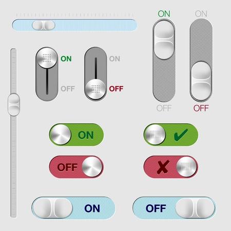 interruttore: Set di pulsanti interruttore ON OFF e rollover Vettoriali