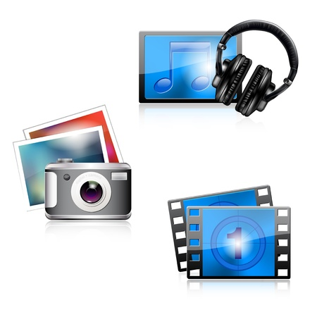 video camera icon: Set of glossy media icons - photo music video  Vector file  Illustration