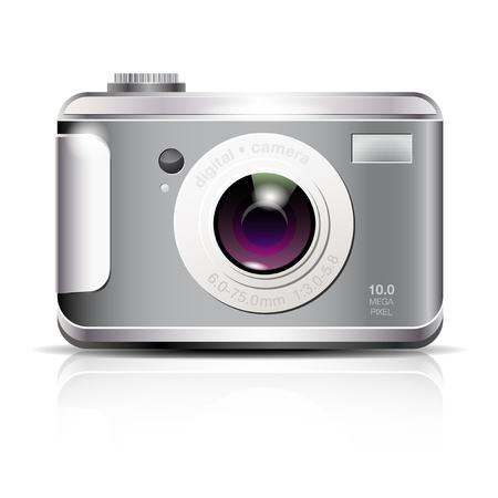 compact camera: Elegant digital photo camera icon on white background