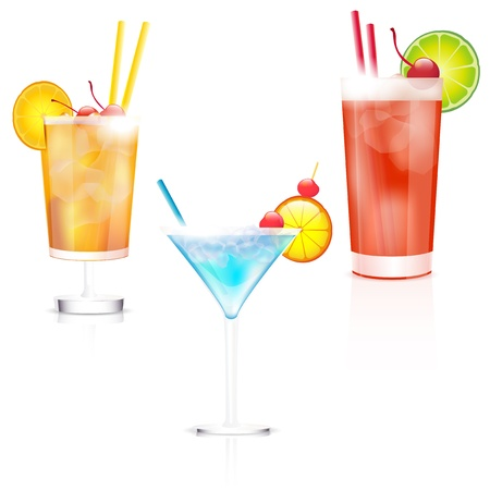 lime juice: Three cocktails on white background  Vector file