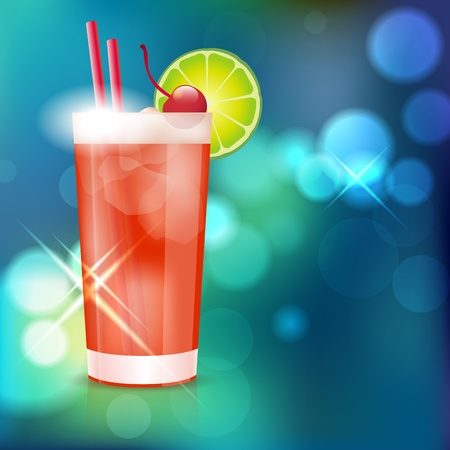tropical drink: Cocktail on shiny background - place for text  Vector file