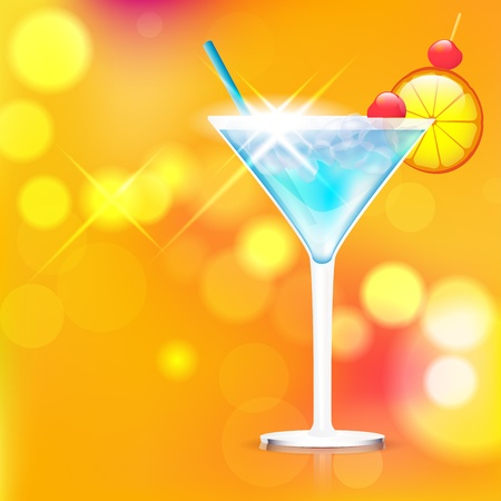 orange juice glass: Cocktail on shiny background - place for text  Vector file