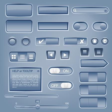 navigation panel: Set of web elements - vector file