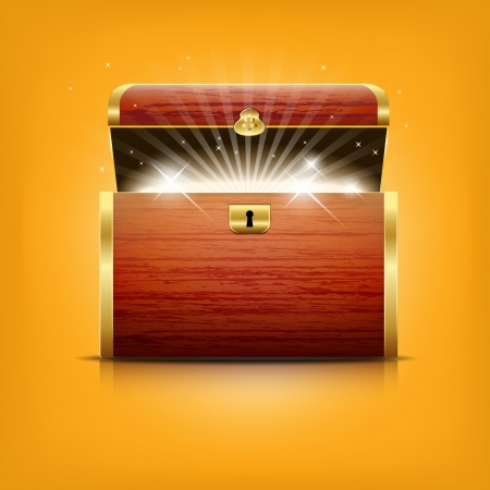 treasure trove: Chest with glowing treasure - vector file