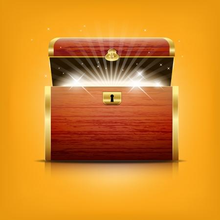 cofre del tesoro: Cofre de tesoros que brilla intensamente - archivo vectorial