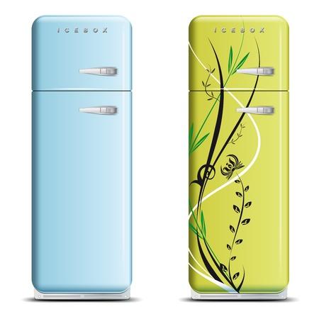 -白で隔離される - レトロな冷蔵庫が 2 つのベクターのファイル