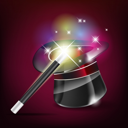 Glossy magic hat and wand  Illustration