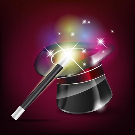 Glossy magic hat and wand