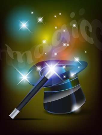 magical equipment: Glossy magic hat and wand
