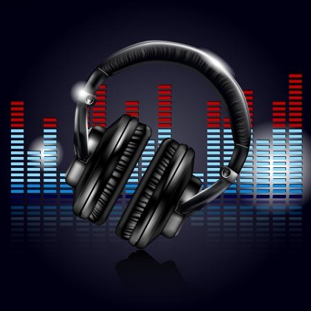 electronic music: Cuffie ed equalizzatore Vettoriali