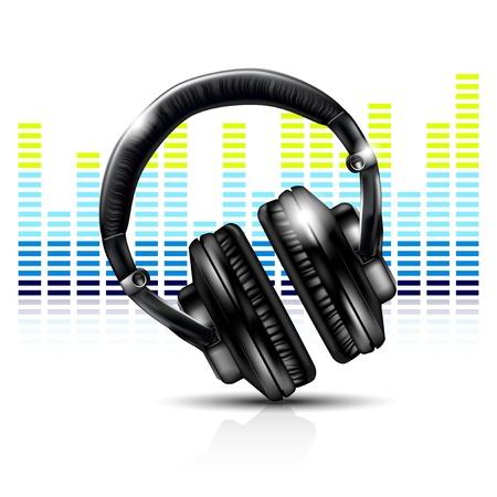 ヘッドフォンとイコライザー  イラスト・ベクター素材
