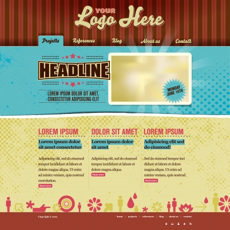 web site: Website template - modern retro design