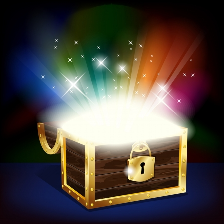 gold treasure: Chest with glowing treasure