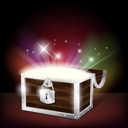 cofre del tesoro: Cofre de tesoros que brilla intensamente Vectores