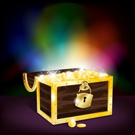 cofre del tesoro: Cofre lleno de monedas de oro