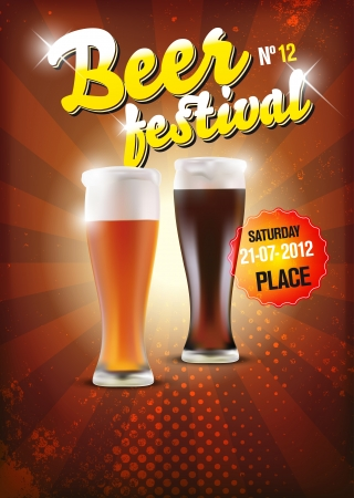 beer drinking: Vector beer festival poster - place for your text or objects