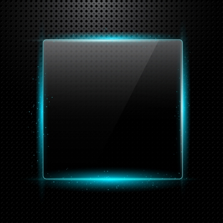 Metal background with shiny glass frame for your text