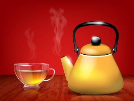 tearoom: Yellow metal teapot and glass cup of tea  Illustration