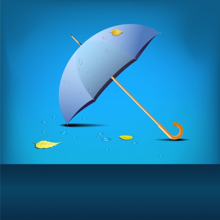 Blue umbrella - place for text - fall theme Vector