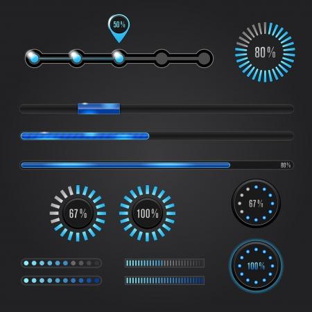 navigation bar: Set of loading bars -  web elements