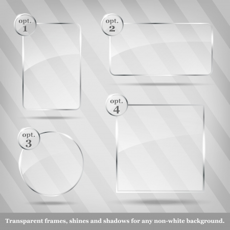Collection of transparent vector glass frames Imagens - 15076308