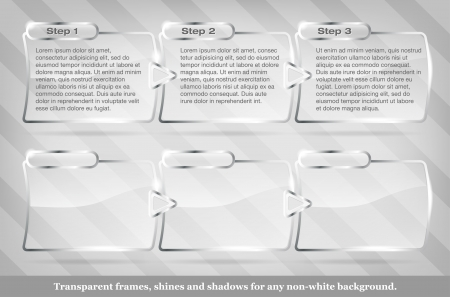 plexiglas: Collection of transparent vector glass frames - place for text