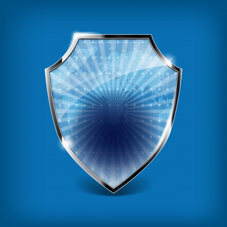 Glossy security shield on blue background - place for your text or symbol Vector