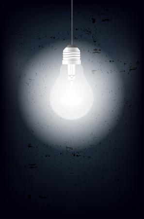 shining light: Brillante bombilla y fondo sucio - lugar para el texto Vectores