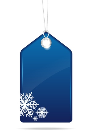 blank gift tag: Blue christmas price tag - vector file