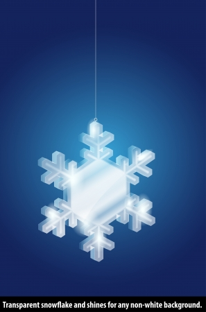 Transparent glass snowflake on blue background Stock Vector - 16345445