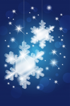 Transparent glass snowflakes on christmas shiny blue background - place for text Stock Vector - 16251264