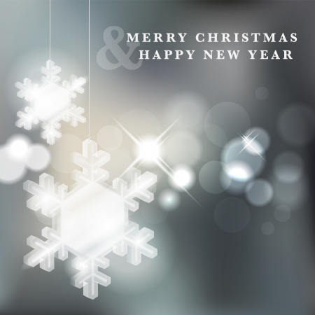 Transparent glass snowflakes on christmas shiny background Stock Vector - 16251267