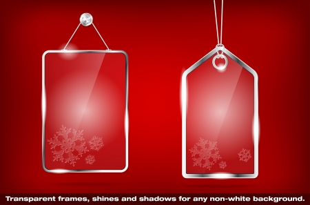 christmas gift tag: Two transparent glass Christmas price tags - vector file