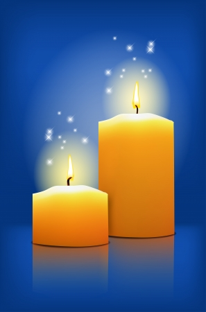 Two candles on a blue background - vector file Vector