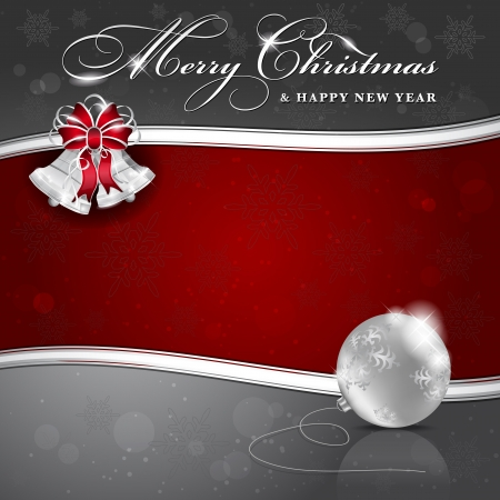 Background with Christmas bells and ball - place for text Stock Vector - 16251274