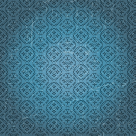 Vintage ornament on grungy blue background Stock Vector - 16448223