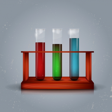 Three test tubes in wooden box Vector