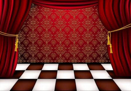 Królewski hala z czerwonymi zasłonami i płytek kratkę Ilustracje wektorowe