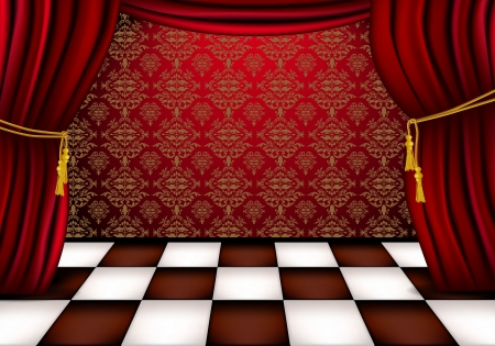 hall: Royal hall with red curtains and checkered tiles