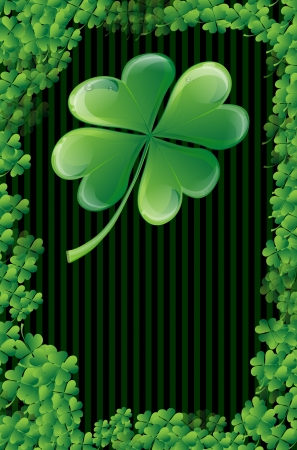 Wishes on St  Patrick s Day with clover leaf and place for text Stock Vector - 16594839