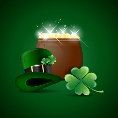 Pot of gold, green hat and cloverleaf - St Patricks day symbols Vector