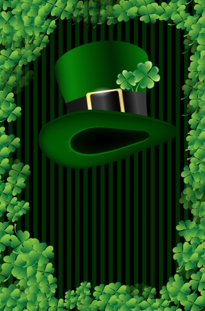 Wishes on St  Patrick s Day with green hat and place for text Stock Vector - 16571065
