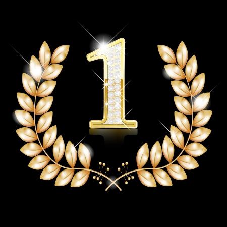 numero uno: Oro corona para el ganador, el número uno con diamantes, cinta