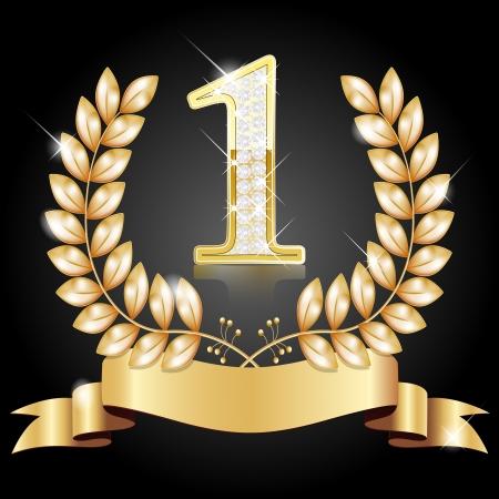 numero uno: Corona d'oro per il vincitore, il numero uno con diamanti, nastro Vettoriali