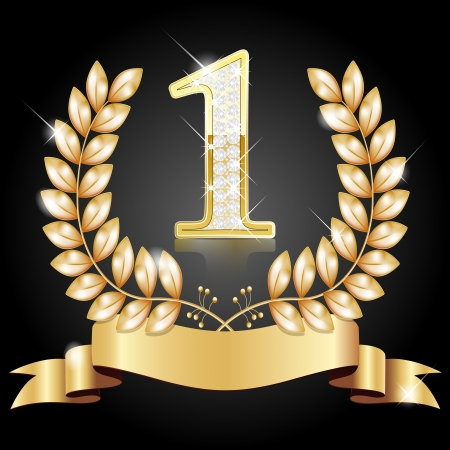 Couronne d'or pour le vainqueur, numéro un avec des diamants, ruban