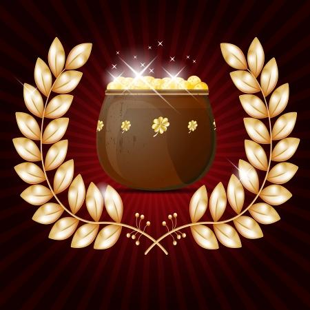 pot leaf: Gold wreath and pot of shiny golden coins Illustration