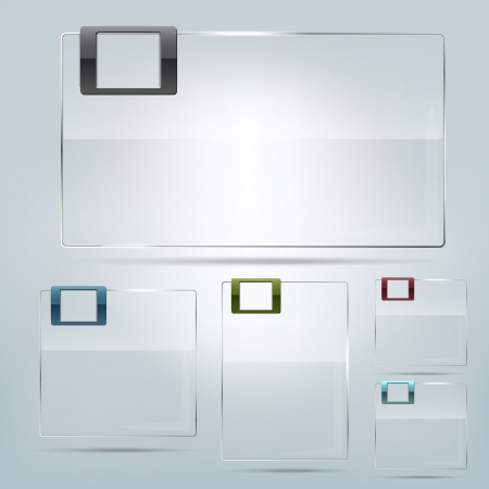 Collection of transparent glass frames - place for text Vettoriali