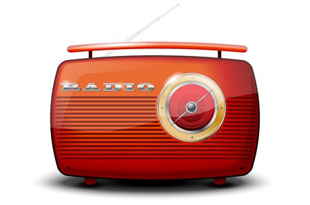 retro radio: Red vintage radio on white background
