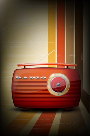 Red vintage radio on retro stripe background with vignetting Vector