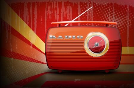 omroep: Rode vintage radio op retro streep achtergrond met vignettering